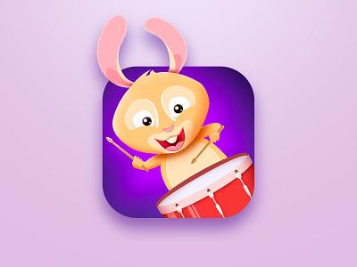 Rabbit drumme ios icon drums drummer character animals rabbit illustration music icon apple store app design app