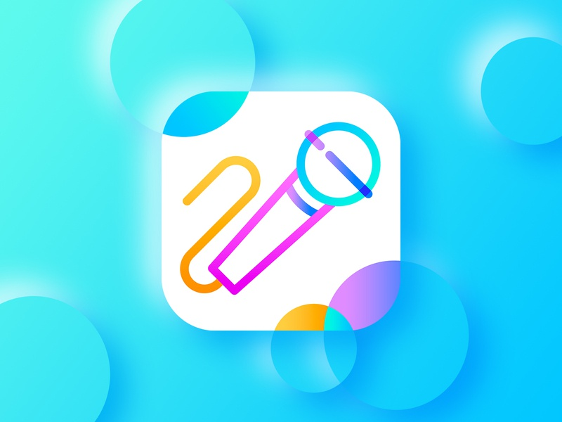 Karaoke mic icon ios app store sing icon design microphone mic music app app music icon