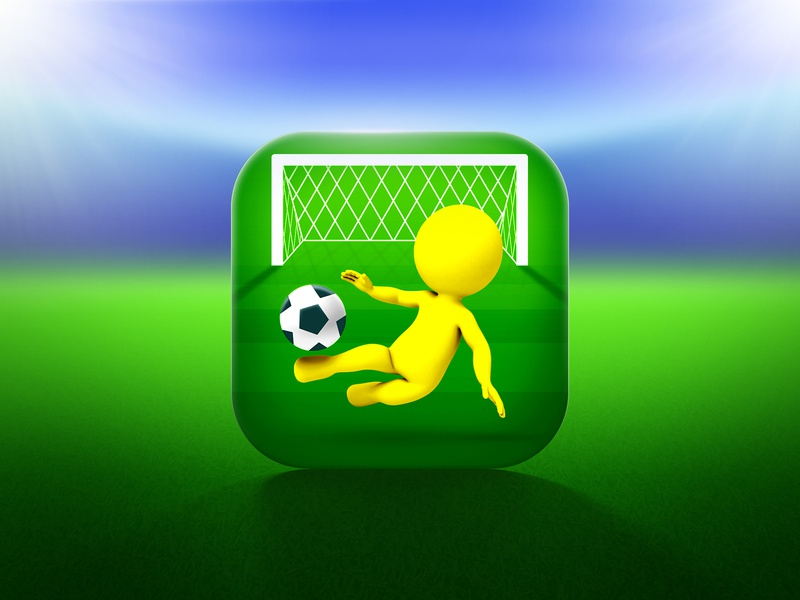 Cool Goal icon field goal ball soccer sport football character game icon design app icon