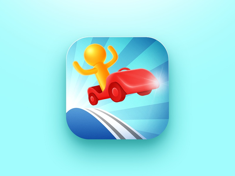 Race car game icon jump ferrari racetrack racecar racer race sport character illustration game app store icon design icon app