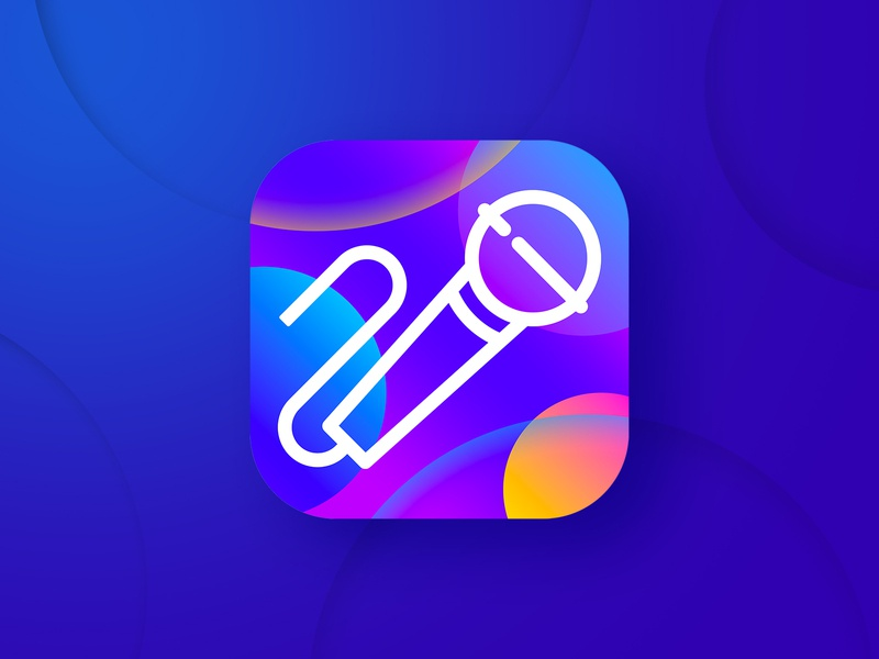Karaoke app icon party song sing microphone karaoke logo illustration music app icon app store icon design app icon
