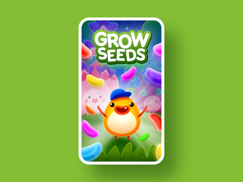 Grow Seeds artwork screenshot artwork art vegetable chicken forest candy tree trees seed seeds grow logo character game illustration app