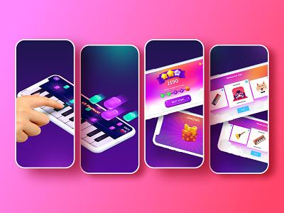 Piano Crush screenshoots tale crush piano appstore store screenshots music game illustration app