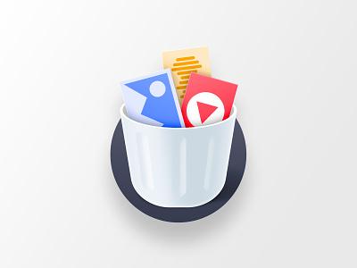 Cleaner icon bucket video audio photo vector app store logo illustration icon design icon trash bin
