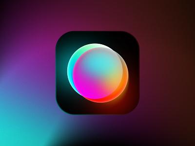 3D Camera app icon 3d effect gradient photo lens camera app store icon design icon app