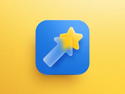Growth App Icon transparency glass arrow star logo app store illustration icon design icon app