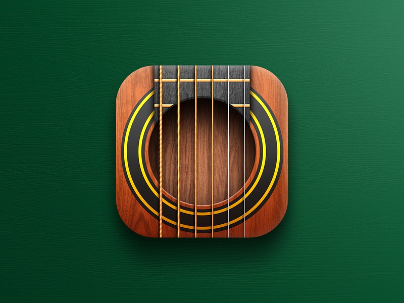 Guitar app icon skeuomorphism app design icon design apple store instrument strings music guitar icon app