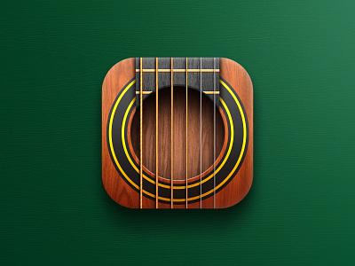 Guitar app icon skeuomorphism app design icon design apple store instrument strings music guitar icon app