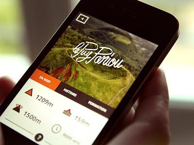 """""""Volcans d'Auvergne"""" – card app ios iphone ui design volcanoes nature custom type"""