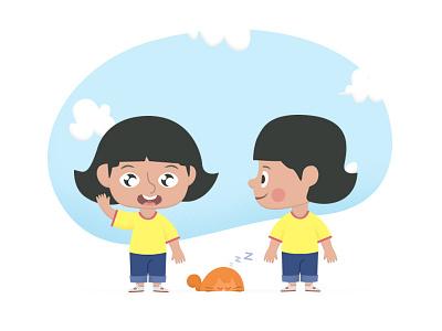 Mandy illustration character vector kids girl cat ipad game