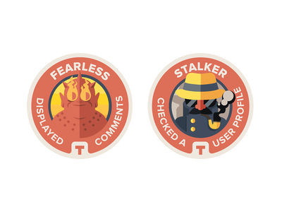 TVShow Time - discovery badges flat badges tvshowtime award medal illustration retro