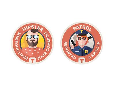 TVShow Time - discovery badges 2 flat badges tvshowtime award medal illustration retro
