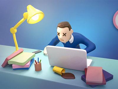 Hey Axel - Tired Manager identity start-up slide deck 3d illustration