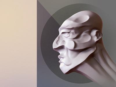 Futurist head Sculpt - Personal work 3d 3d art futurist retro illustration