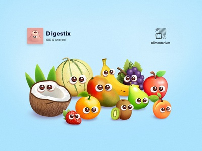 Digestix - Fruits android ios art direction game fruits illustration