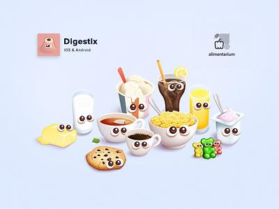 Drinks and sugar design game illustration