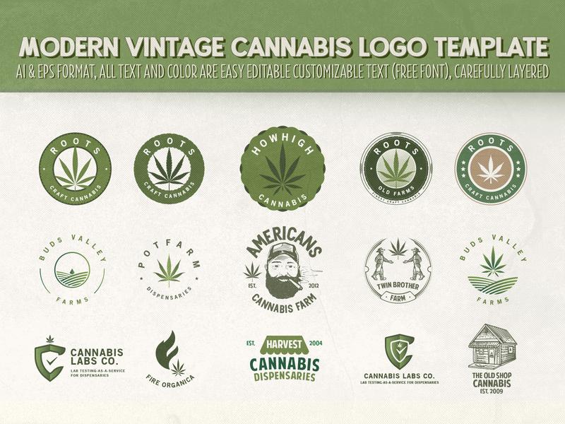 Modern Vintage Cannabis Logo cannabis farm dispensary farm cbd weed cannabis leaf cannabis packaging cannabis branding cannabis design cannabis logo cannabis illustration design vintage logo