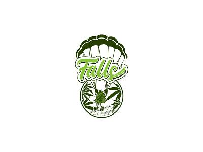 Falls Logotype & Marks for Packaging Label falls paratroopers hemp logo buds branding illustration cannabis logo logomarks logotype logo design label packaging packaging label design label