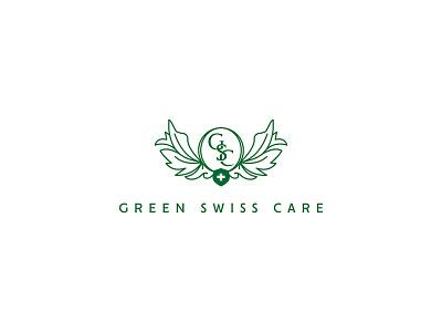 Green Swiss Care Logo graphicdesign logotype cbd cbd logo hemp oil product hemp oil cannabis logo cannabis canna brand branding logomark logo design logo green swiss care