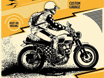 Scrambler Keep On Moving custom garage riders scrambler design illustration poster art motorcycle club