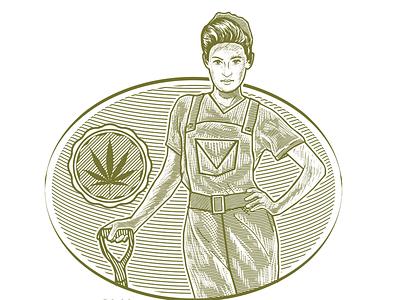 Highfarm Organic Cannabis Plantation #designforsale vector template design oraganic industries highfarm hemp design for sale branding illustration template designforsale design logo organic plantation homegrown weed marijuana cannabis