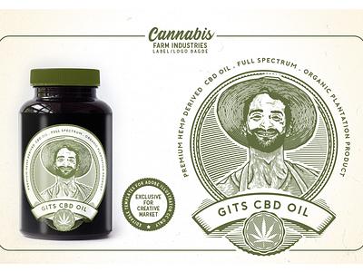 Cannabis Farm Industries Label & Logo Badge Template buds plantation dispensary cultivation template logo label cbd oil marijuana cannabis