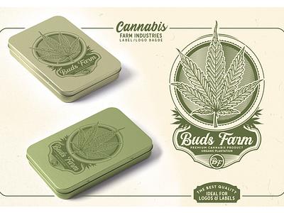 Cannabis Farm Label & logo Badge Template farm oils cbd dispensary template maryjane buds vintage badge logo engravings cultivation plantation marijuana cannabis
