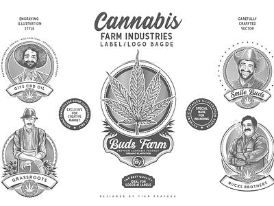 Cannabis Farm Label & logo Badge Template grow buds farm weed highfarm industries oils cbd engravings plantation cultivation marijuana cannabis