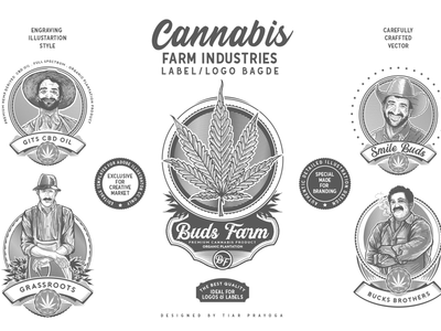 Cannabis Farm Label & logo Badge Template