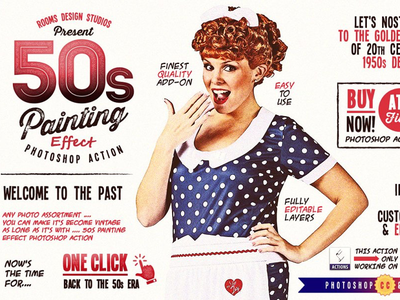 50s Painting Effect Photoshop Action retro vintage photo editing effect painting 50s action photoshop