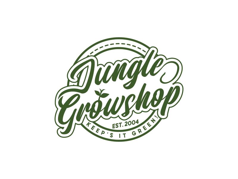 Jungle Growshop plantation dispensaries cbd indoor outdoor agriculture jungle equipment cannabis industry cannabis branding cannabis logo vector branding design logo vintage