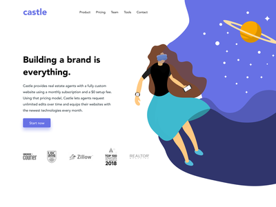 Castle Lab - Redesign invite studio future blob wave technology purple space art website ux ui vector design illustration