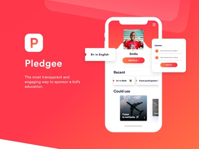 Pledgee - Sponsorship App profile tracker mockup iphone x blob red mobile app mobile design ux  ui ui design web design design