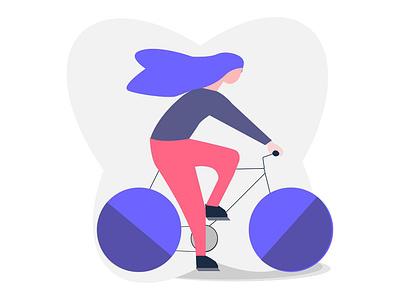 Cycling Girl illustration ride illustraion grain purple hair cycling  girl cycle character bicycle app