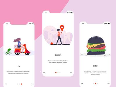 Onboarding Screen uiux trending onboardingscreens onboarding foodie swipe iphonex illustration screens illustration design colorful app animation