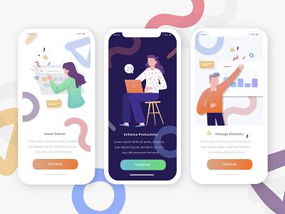 Smart Employee Development Concept illustration design illustration smart productive uiux ui minimal iphonex ios app statistics customer colorful bussiness