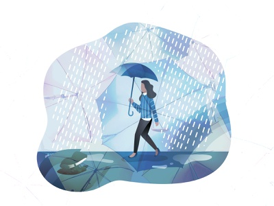 Lady in Rain Illustration Concept rainforest ladybird rainbow uiux lady rain rainy day vector illustration design ui