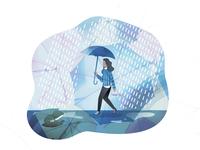 Lady in Rain Illustration Concept