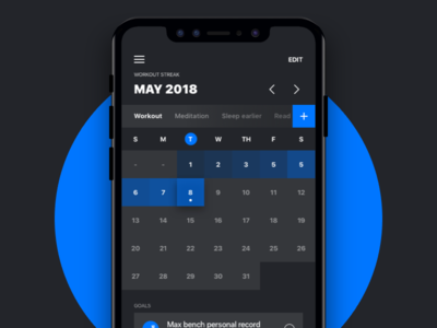 Workout Calendar Wise Daily Routine Track- Concept
