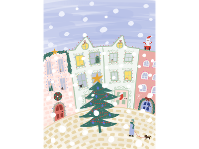 Snowy Christmas town! digitalillustration procreateapp colourful art illustration