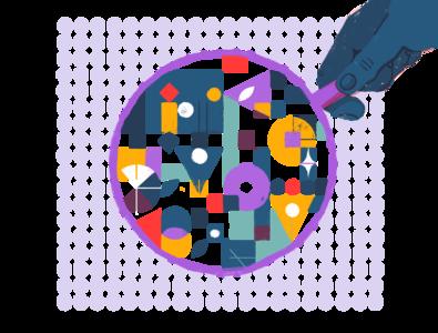 Lens design simple working puzzle web texture photoshop people minimal illustration flat