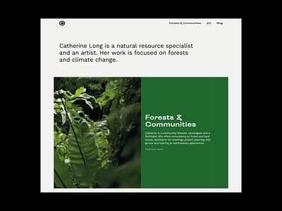 catherine-long.co.uk portfolio site portfolio environment climate change forest typogaphy grey green webdesign ui website minimal