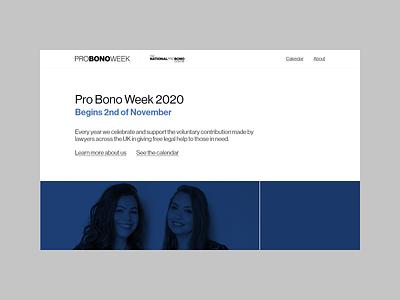 Pro Bono Week 2020 homepage legal pro bono clean blue white black grey webdesign website minimal