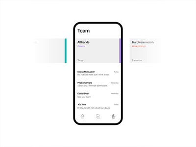 Team screen aftereffects slider slide events calendar list conversation carousel chat team ux simple animation animated clean ui white black grey minimal