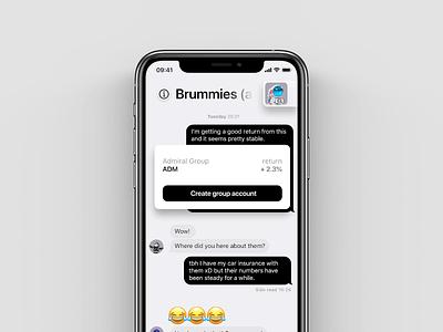 Mercury investment chat view investor invest investment chat app chat iphone11pro iphonex iphone ios app ios app design app design simple clean ui white black grey minimal