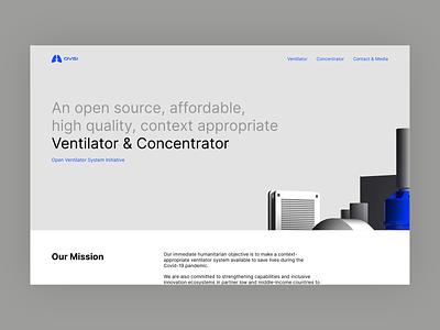 ovsi.org redesign header header render africa healthcare coronavirus corona covid19 open source concentrator ventilator blue design webdesign simple website ui clean white grey minimal