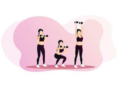 Squat exercise with dumbbells