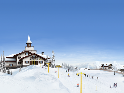 "Illustration for website of township ""Chamonix"" illustration chamonix winter township village sky snow blue sky"