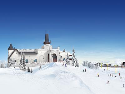 "Fresh retouch of Illustration for website of township ""Chamonix"" blue sky snow sky village township winter chamonix illustration chateau"