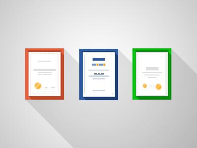 Certificates certificates flat long shadow